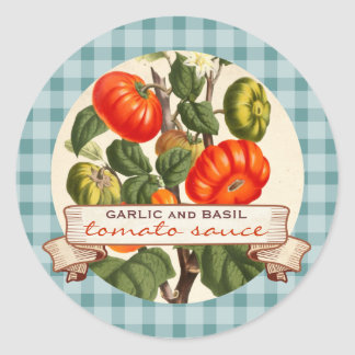Custom color red sauce tomato canning label classic round sticker