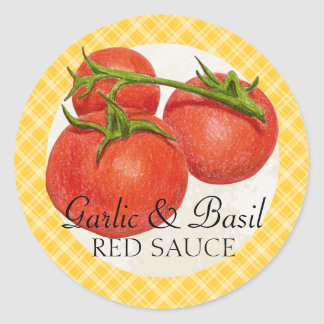 custom color red sauce tomato sauce canning label classic round sticker