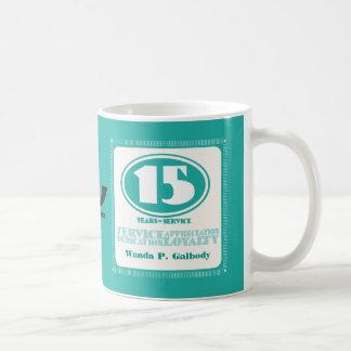 Custom color retro 15 year employee service award coffee mug