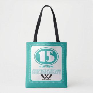 Custom color retro 15 year employee service award tote bag