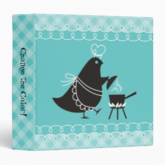 Custom color retro cooking bird recipe binder