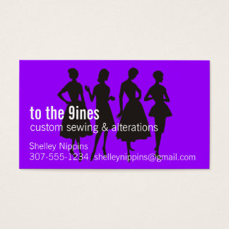 custom color retro dress models silhouettes sewing business card