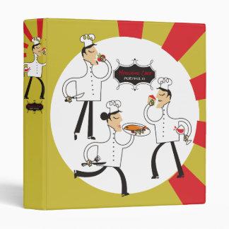 Custom color retro French chefs recipe cookbook Binder
