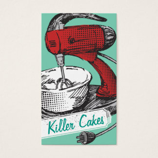 Custom color retro stand mixer baking bakery card
