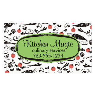 Custom color retro vegetables cooking chef card business card
