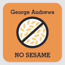 Custom Color Sesame Allergy Personalized Kids Square Sticker
