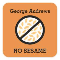 Custom Color Sesame Allergy Personalized Kids Square Sticker