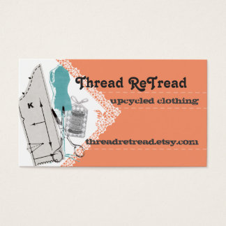 Custom color sewing pattern dress dummy business card