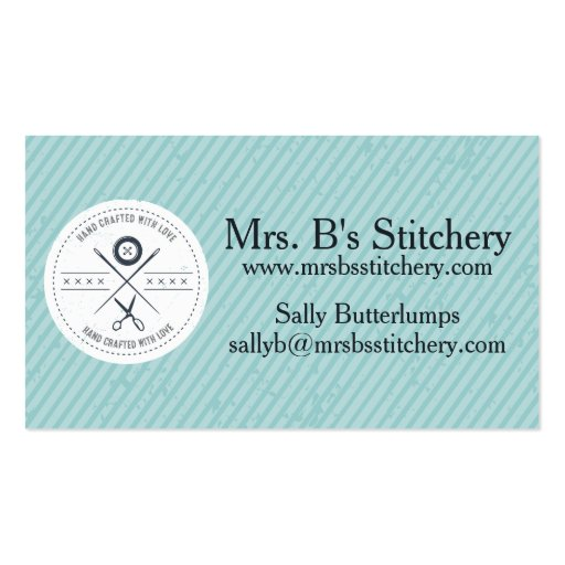 Custom color sewing seamstress alterations badge business cards
