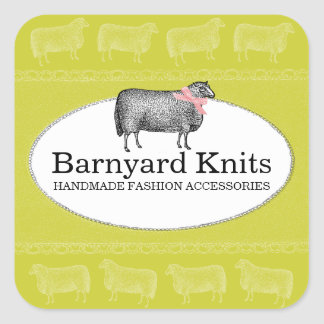 Custom color sheep wool knitting crochet label 2 square sticker