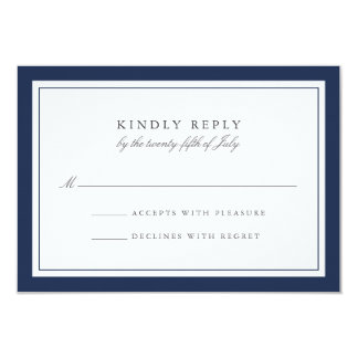 Custom Color Simple Border Wedding RSVP Card