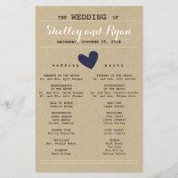 Custom Color Simple Heart Wedding Program