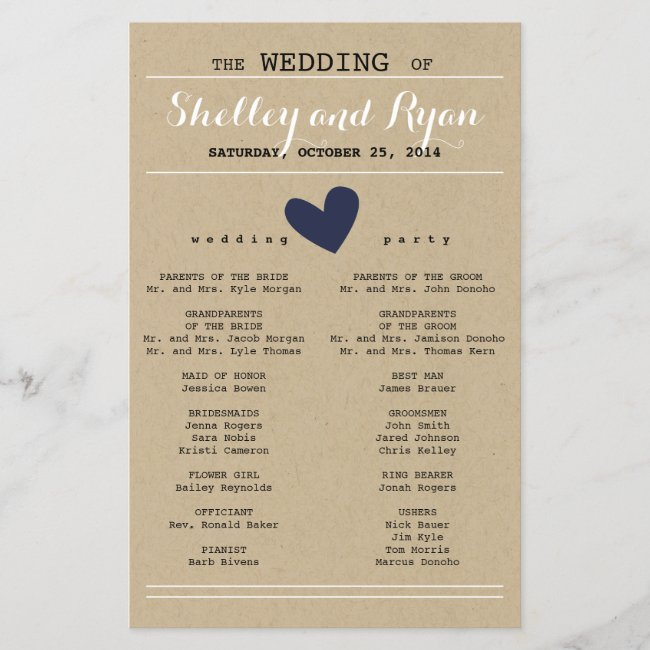 Custom Color Simple Heart Wedding Program