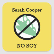 Custom Color Soy Allergy Personalized Kids Square Sticker