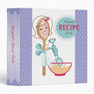 Custom color spoon girl cooking recipe binder