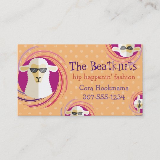 Custom Color Sunglasses Sheep Knitting Crochet Business Card