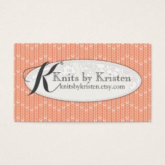 Custom color sweater knitter knitting monogram business card