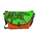custom color T-rex dinosaur attacking grunge city Courier Bags