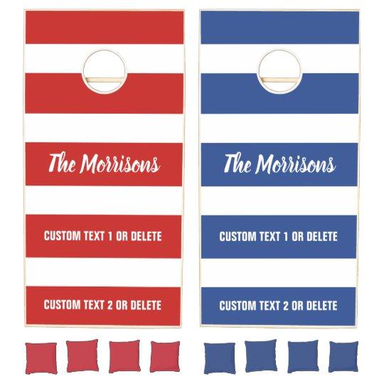 Fabulous Custom Color Text Bold Stripes Bean Bag Toss Cornhole Set Pabps2019 Chair Design Images Pabps2019Com