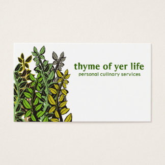 Custom color thyme herbs cooking chef catering business card