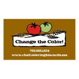 Custom color tomato wheat vegan cooking biz cards business card