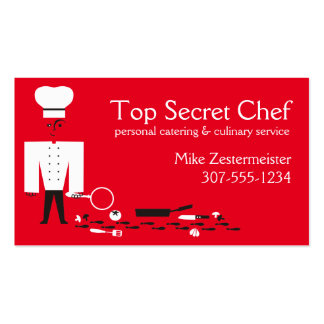 Custom color top secret detective chef catering Double-Sided standard business cards (Pack of 100)