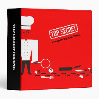 Custom color top secret detective spy chef recipe 3 ring binder