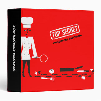Custom color top secret detective spy chef recipe binder