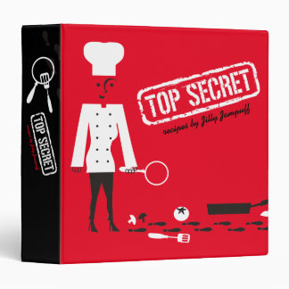 Custom color top secret woman chef recipe cookbook binder