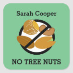 Custom Color Tree Nut Allergy Personalized Kids Square Sticker