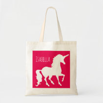 Custom Color Unicorn Silhouette Kids Personalized Tote Bag
