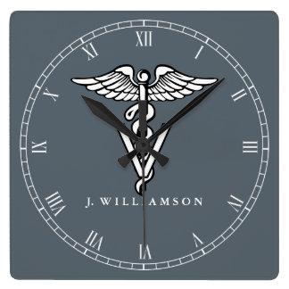 Custom Color Veterinary Medicine Symbol Square Wall Clock
