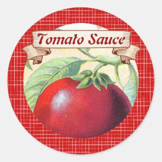 Custom color vine tomato canning label classic round sticker
