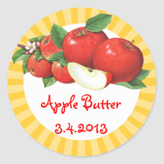 Custom color vintage apples fruit canning label classic round sticker