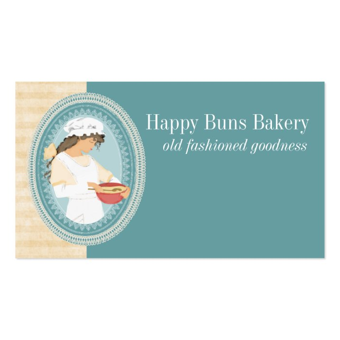custom color vintage bakery girl baking cooking business card