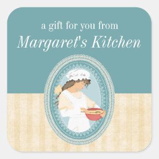 custom color vintage bakery girl baking food label square sticker