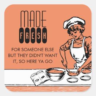 custom color vintage bakery girl baking gift label sticker
