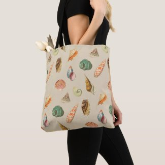 Custom Color Vintage Colorful Seashell Beige Tote Bag