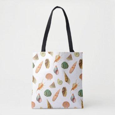 Bride Themed Custom Color Vintage Colorful Seashell White Tote Bag