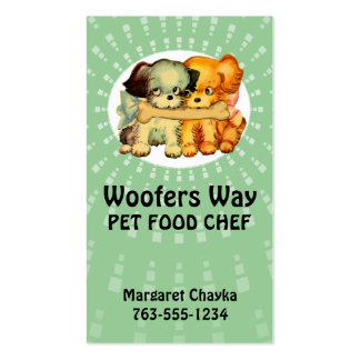 custom color vintage puppies dogs pet food chef business cards