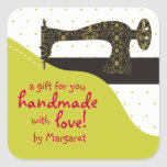 Custom color vintage sewing machine fabric gift stickers