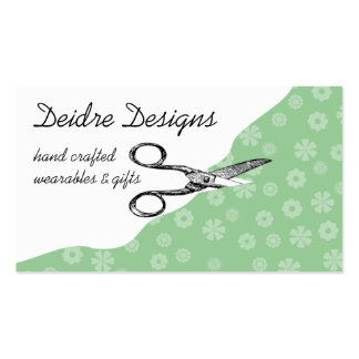Custom color vintage sewing scissors flower fabric business card