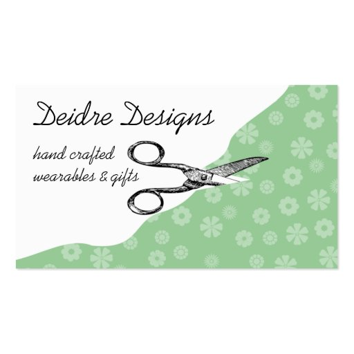 Custom color vintage sewing scissors flower fabric business cards