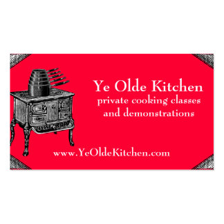 Custom color vintage stove oven pans cooking chef business card