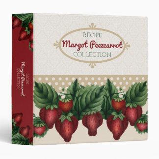 Custom color vintage strawberries recipe cookbook binder