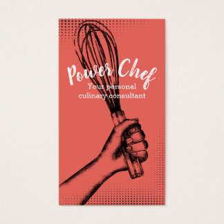 Custom color whisk chef catering business card