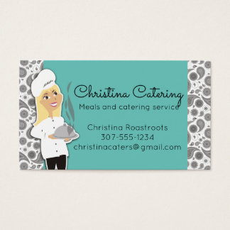 Custom color woman chef blonde catering business card