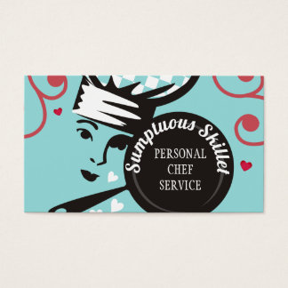 Custom color woman chef catering business card