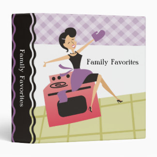 Custom color woman oven cooking baking recipe binder