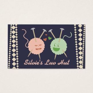 Custom color yarn balls in love kawaii knitting business card